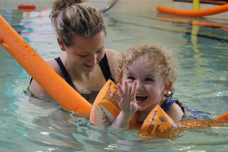 A child receiving hydrotherapy