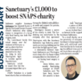 Sanctuary's £1,000 to boost SNAPS charity